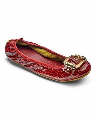 Обувки DU-червен шагрен