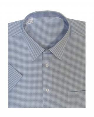 Риза къс ръкав каре в светлосиньо