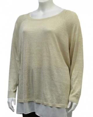 Пуловер реглан с шифон