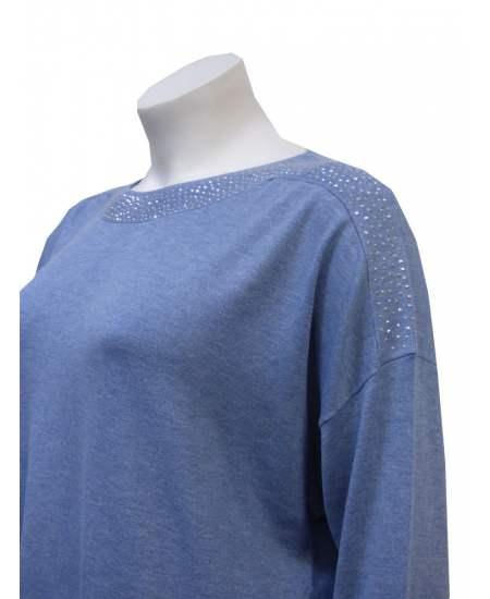 Пуловер блестящо деколте