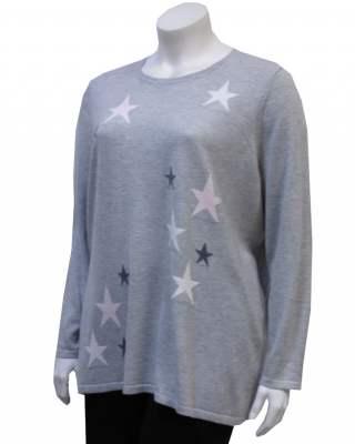 Пуловер сив звезди