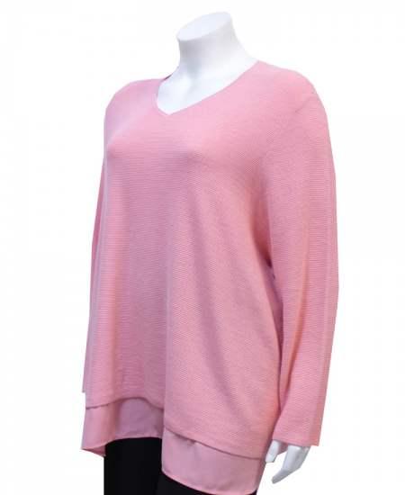 Пуловер розов с шифон