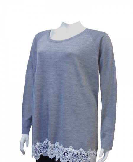 Пуловер сив дантела