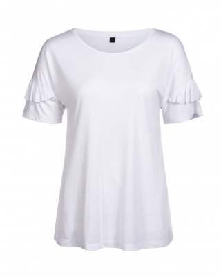 Блуза бяла къдри