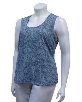 Блуза потник синьо-сив