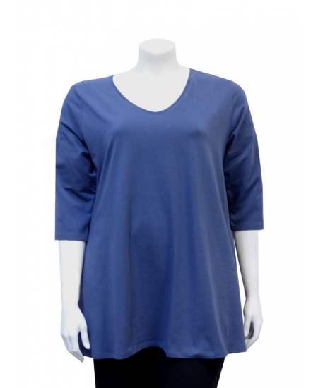 Блуза синя среден ръкав