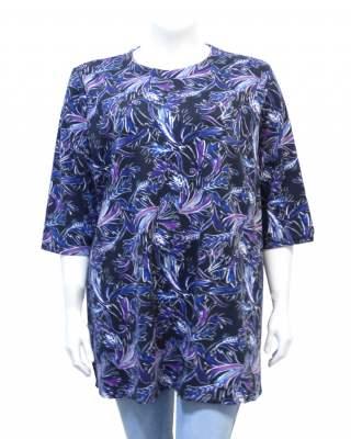 Блуза съчетание в синьо