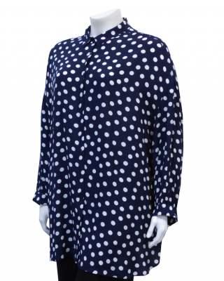 Блуза  точки в синьо