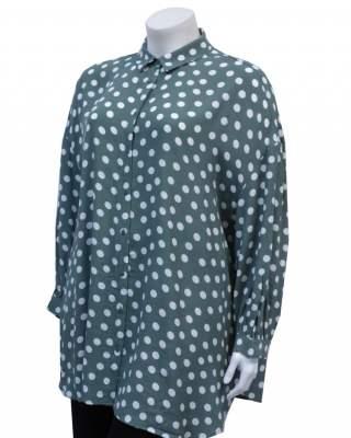 Блуза точки в зелено