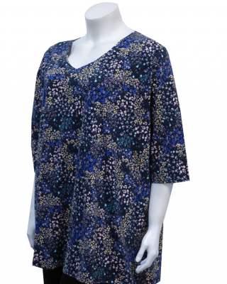 Блуза цветчета в синьо