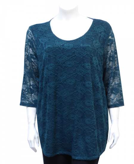 Блуза зелена дантела