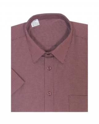 Риза къс ръкав каре в червено