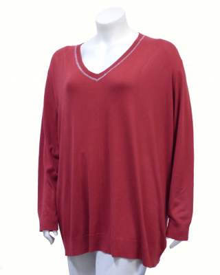 Пуловер червен шпиц блестящо бие