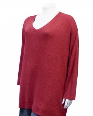 Пуловер  ефект в червено