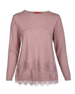 Пуловер ефект дантела розов