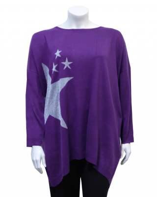 Пуловер лилав звезда