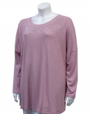 Пуловер розов деколте с ефект