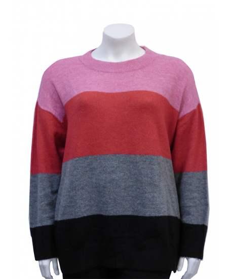 Пуловер широко бие цветно