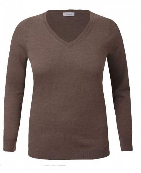 Пуловер шпиц светлокафяв