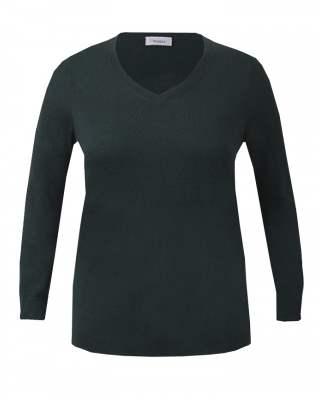 Пуловер шпиц тъмнозелен