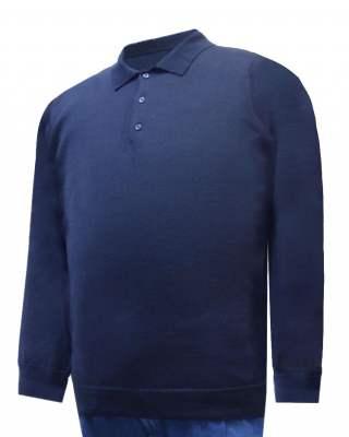 Пуловер с яка тъмносин