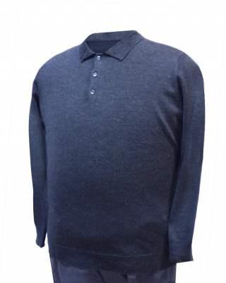 Пуловер с яка тъмносив