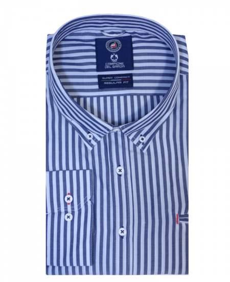 Риза Claudio Campione райе в синьо
