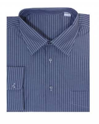 Риза дълъг ръкав едро райе в сиво