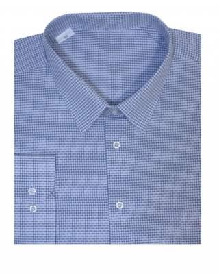 Риза дълъг ръкав едър син пепит