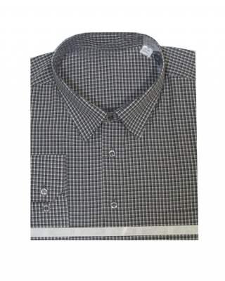 Риза дълъг ръкав каре в черно екстра