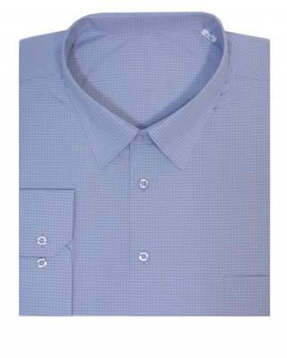 Риза дълъг ръкав каре в лилаво 100%