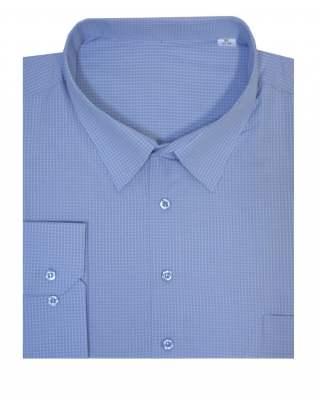 Риза дълъг ръкав каре в синьо 100%