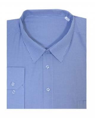 Риза дълъг ръкав каре в синьо 100% екстра