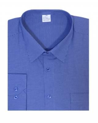 Риза дълъг ръкав каре в тъмносиньо екстра