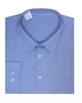 Риза дълъг ръкав син пепит