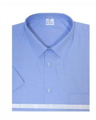 Риза къс ръкав райе в синьо