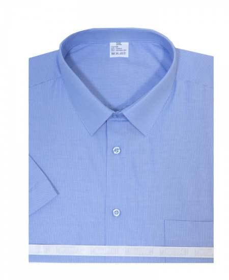 Риза къс ръкав райе в синьо екстра
