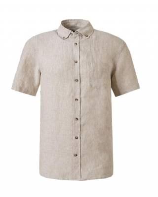 Риза лен джоб бежов къс ръкав