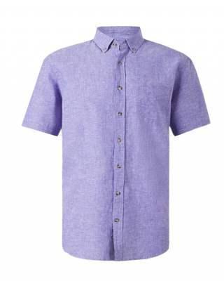 Риза лен джоб индиго къс ръкав