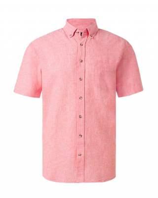 Риза лен джоб корал къс ръкав