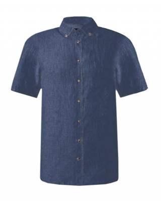 Риза лен джоб къс ръкав