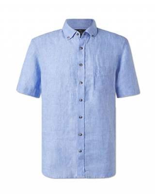 Риза лен джоб светлосин къс ръкав