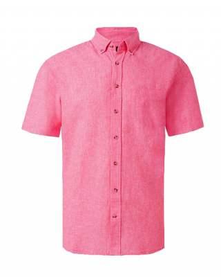 Риза лен джоб розов къс ръкав