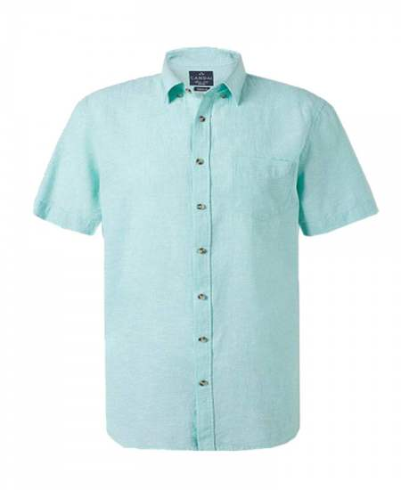 Риза лен джоб зелен къс ръкав