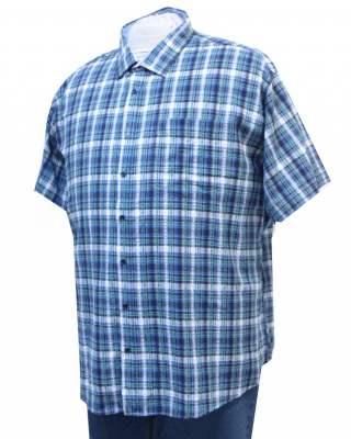 Риза Синьо - зелено каре