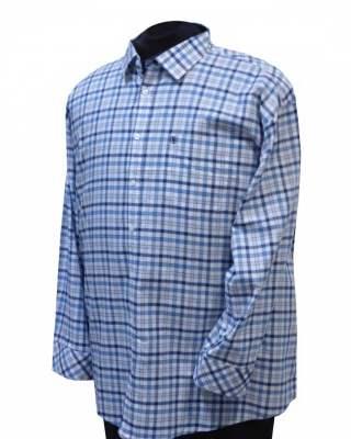 Риза Светло едро каре дълъг ръкав