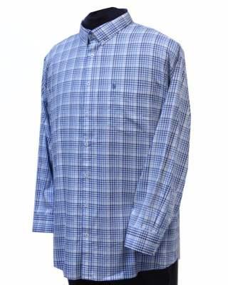 Риза Светло каре в синьо дълъг ръкав